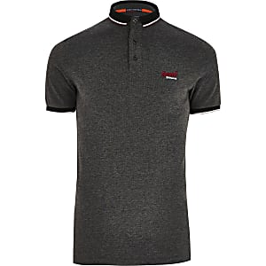Superdry black pique polo shirt