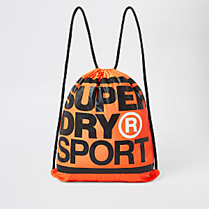 Superdry orange logo print drawstring bag