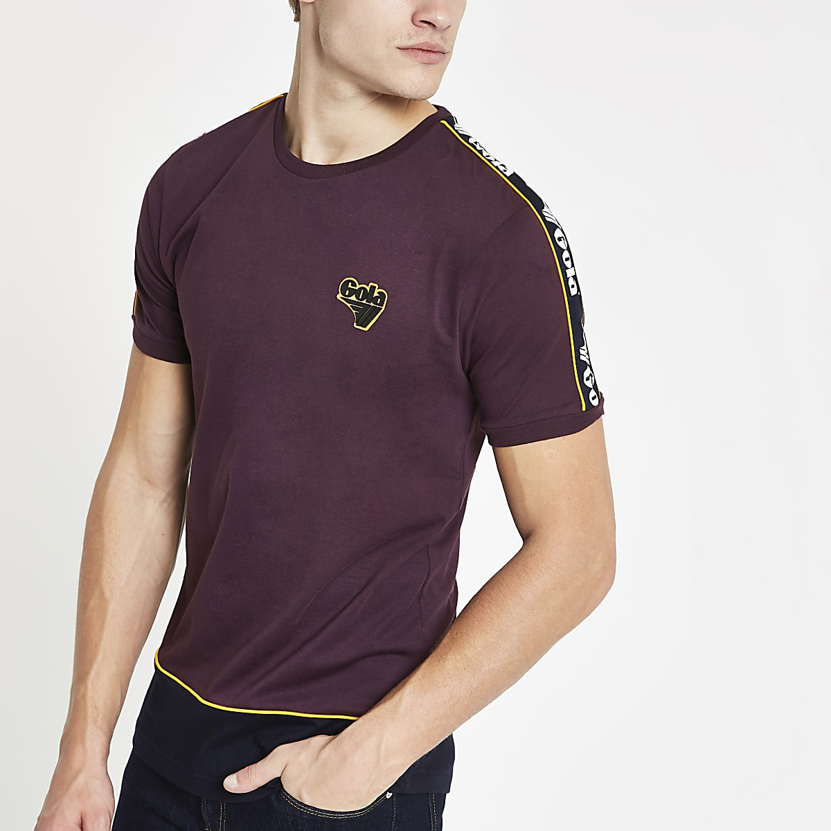 Gola burgundy tape crew neck T-shirt