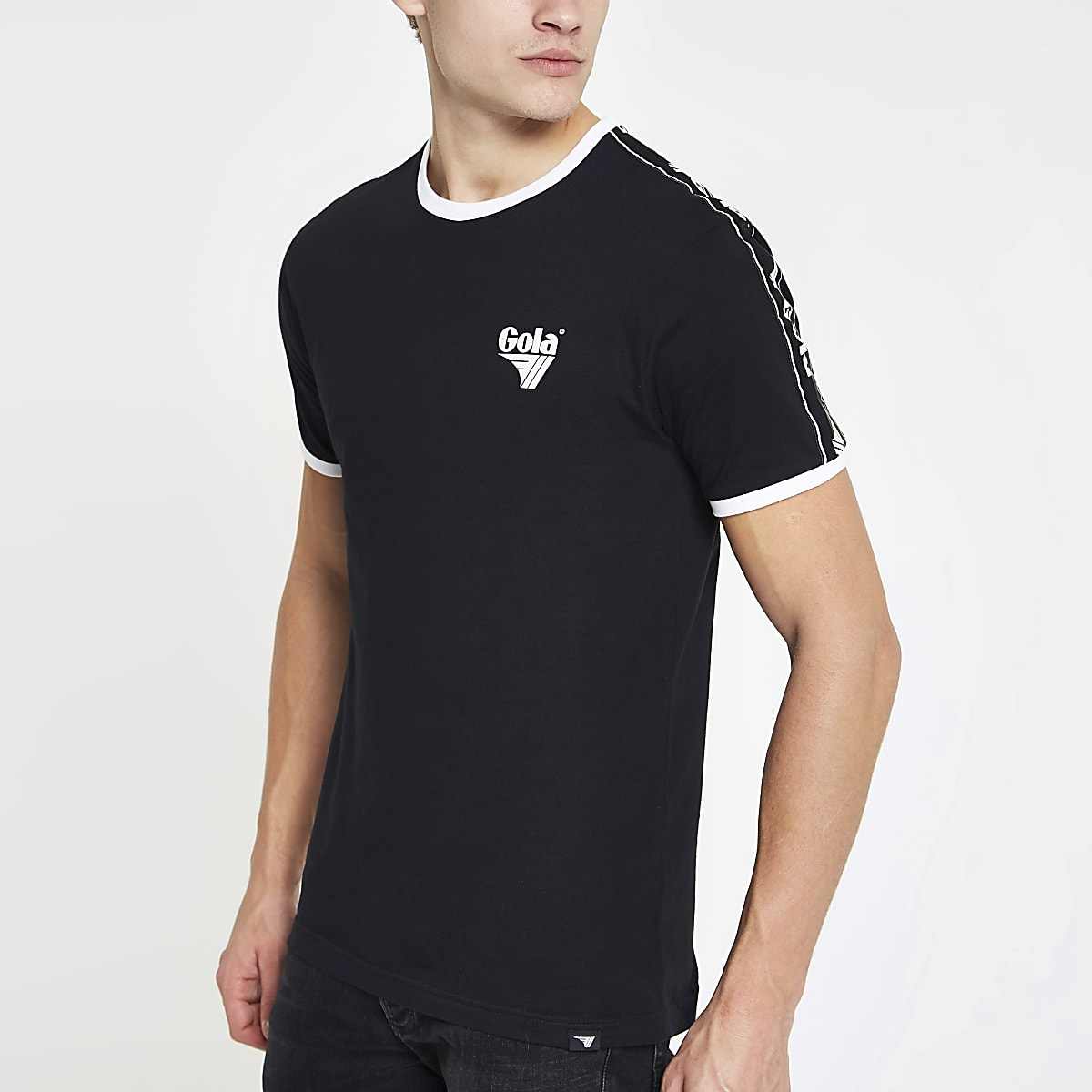 Gola black tipped crew neck T-shirt