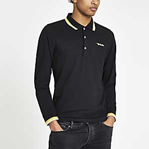 Gola black tipped long sleeve polo shirt