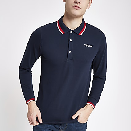 Gola navy tipped long sleeve polo shirt