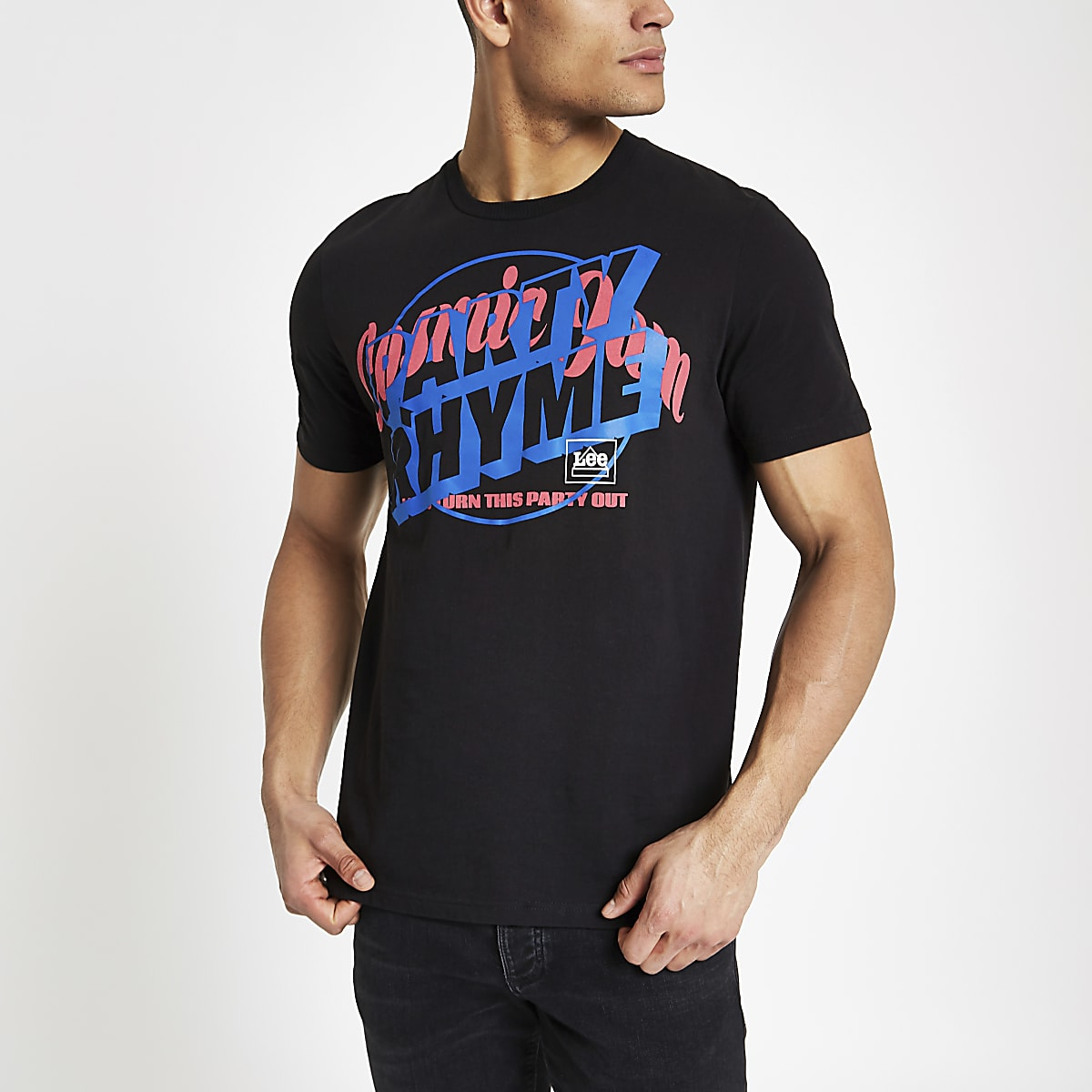Lee black 'party rhyme' print T-shirt