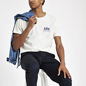 Lee – Steingraues T-Shirt mit Print