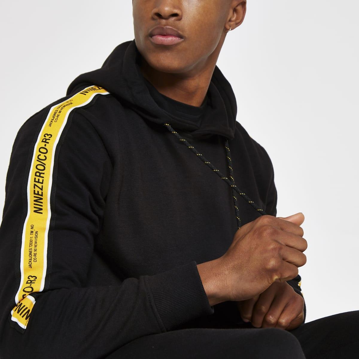 Jack & Jones black tape hoodie