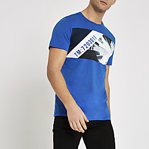 Jack & Jones blue skyline print T-shirt