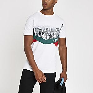 Jack & Jones - Wit T-shirt met skylineprint