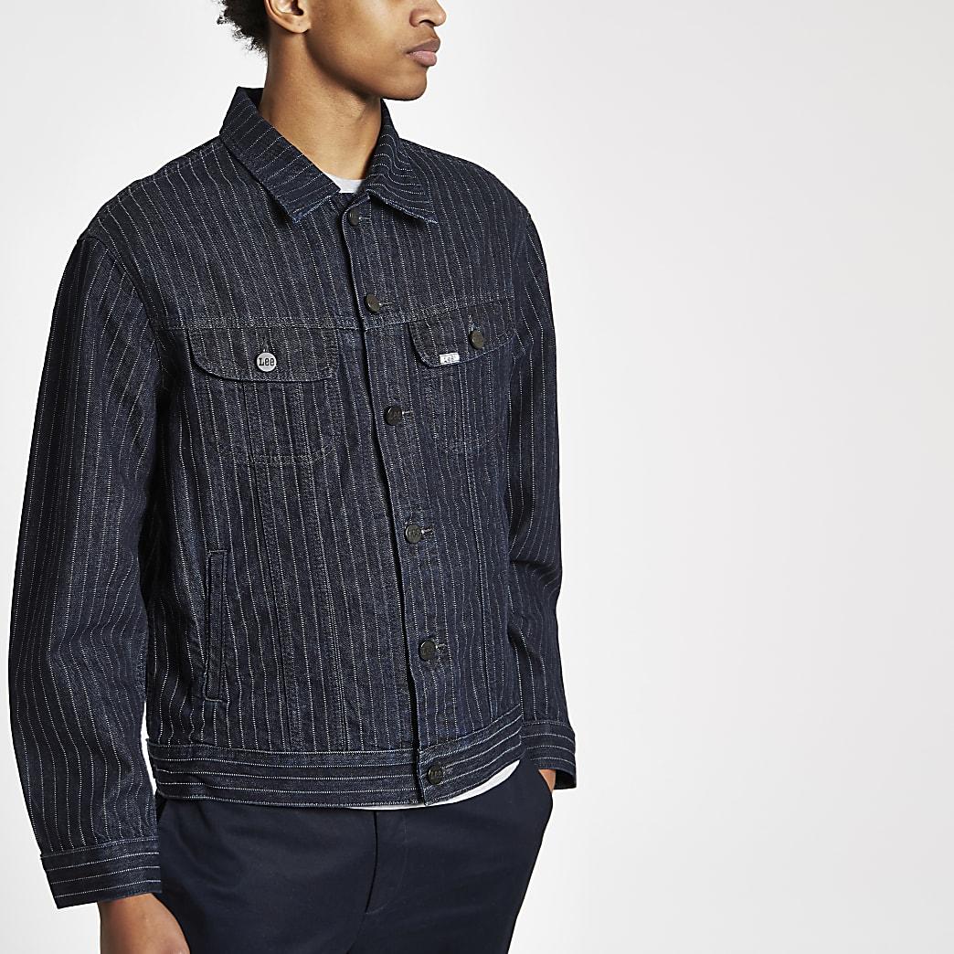 Lee – Veste en jean rayée bleu marine