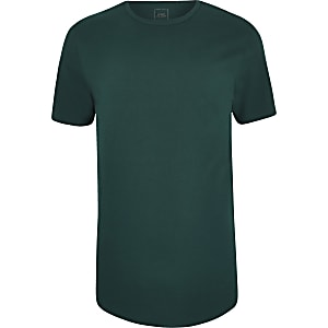 Teal longline curved hem T-shirt
