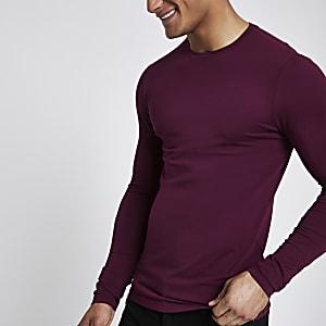 T-shirt ajusté rouge foncé à manches longues