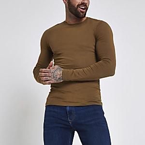 Donkerbruin aansluitend T-shirt met lange mouwen