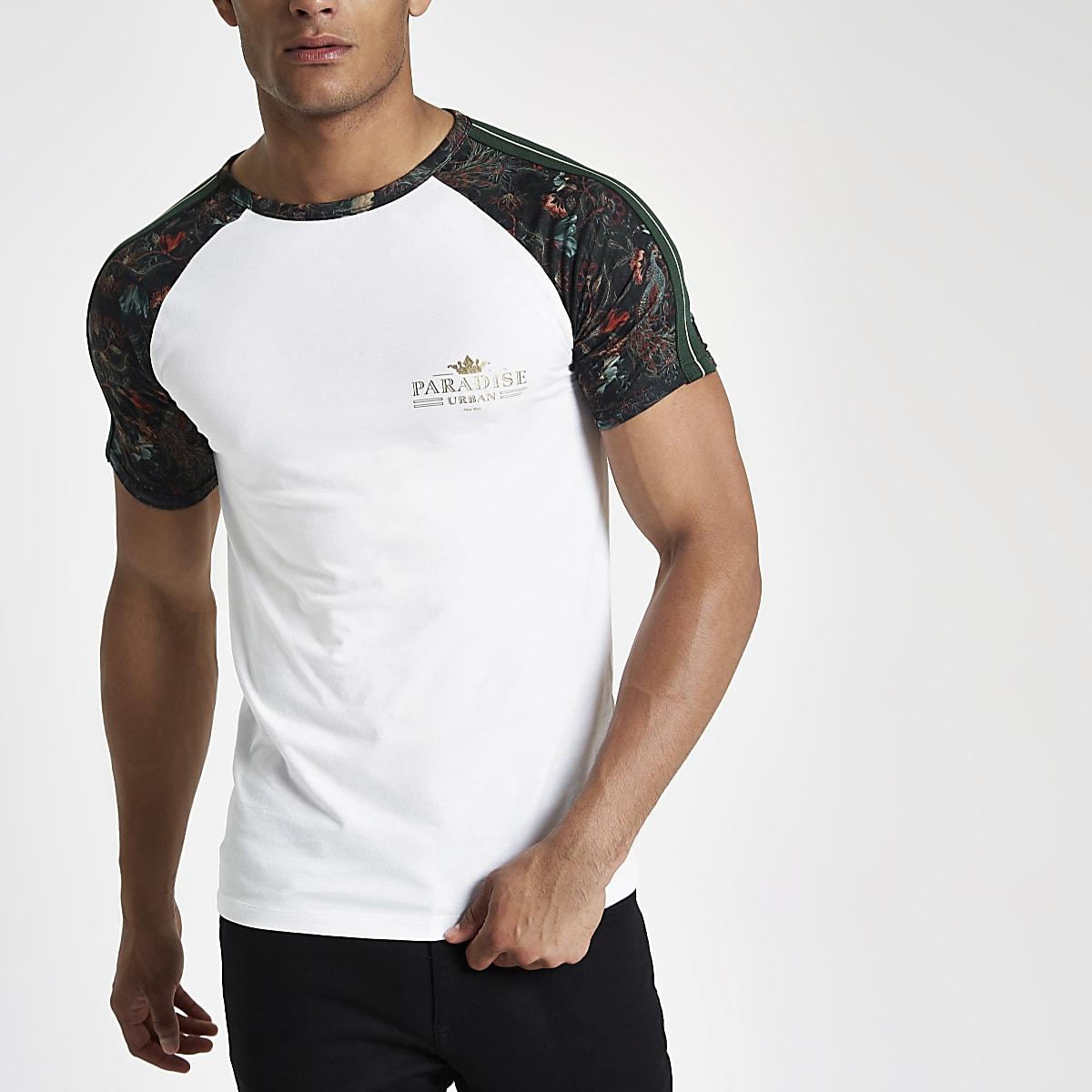 Wit aansluitend T-shirt met raglanmouwen en 'paradise'-print