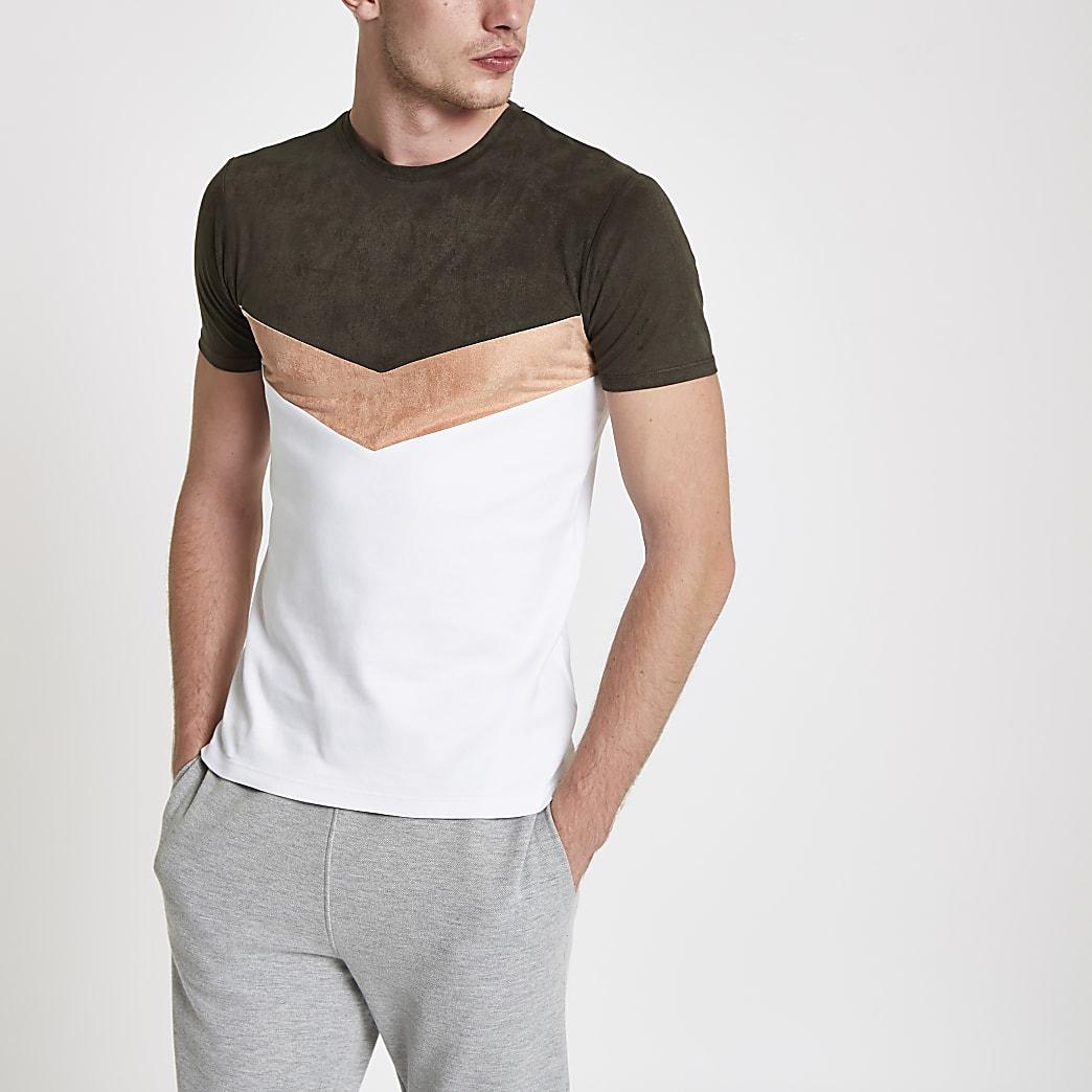 T-shirt ajusté à chevrons vert foncé