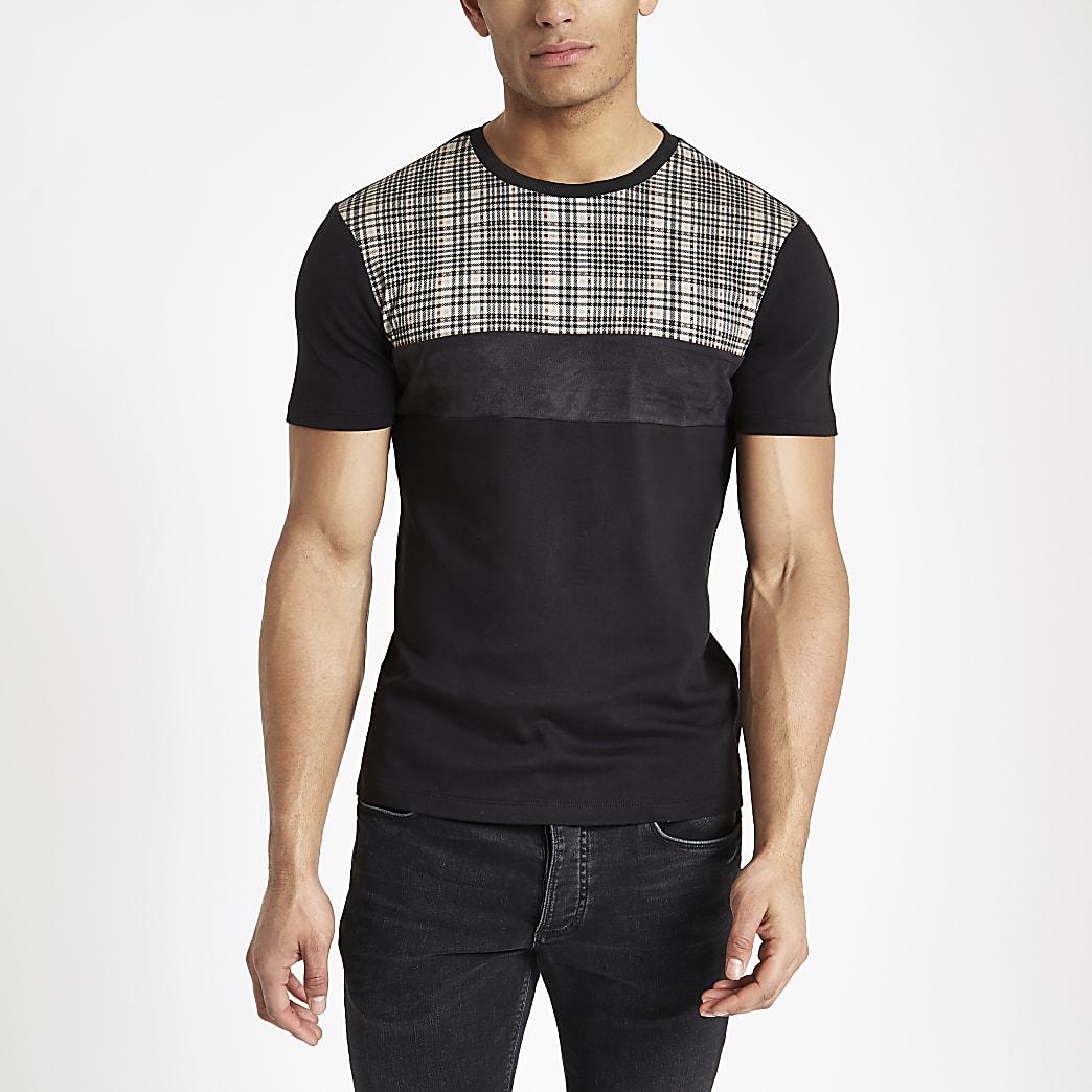 Schwarzes, kariertes Muscle Fit T-Shirt