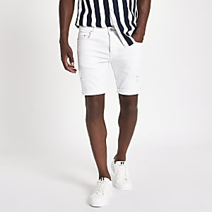 White skinny fit denim shorts