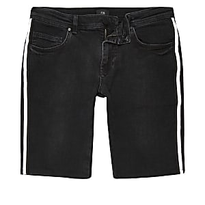 Black tape side skinny shorts