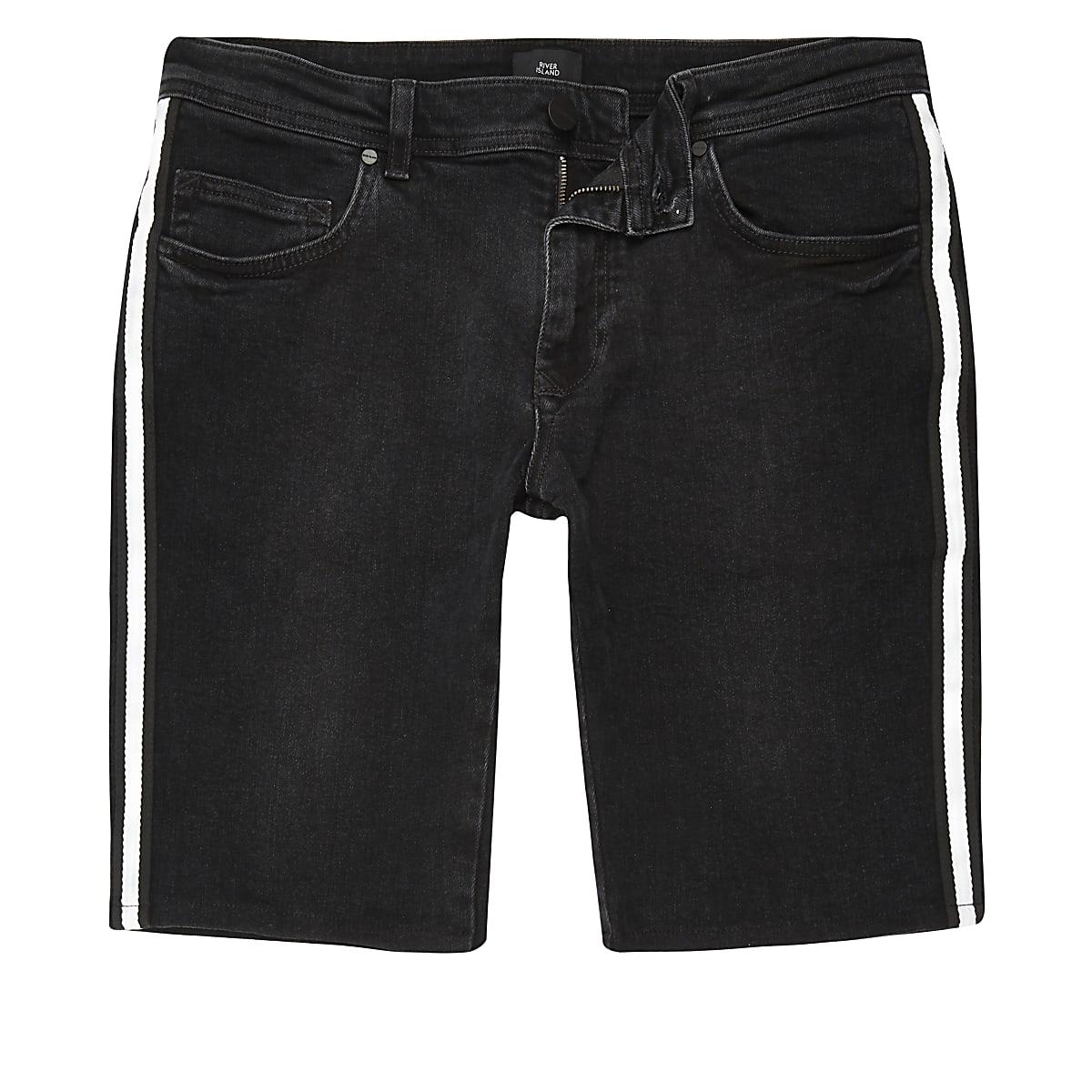 Short skinny noir à bandes latérales