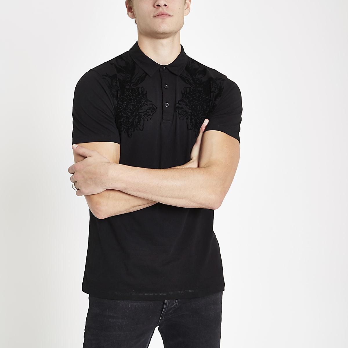 Black flock print polo shirt