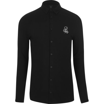 Black R96 pique muscle fit long sleeve shirt