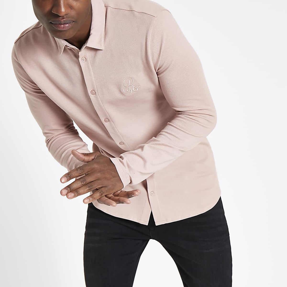 Chemise ajustée R96 rose boutonnée