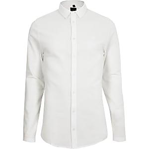 Weißes, strukturiertes Hemd mit Knopfverschluss