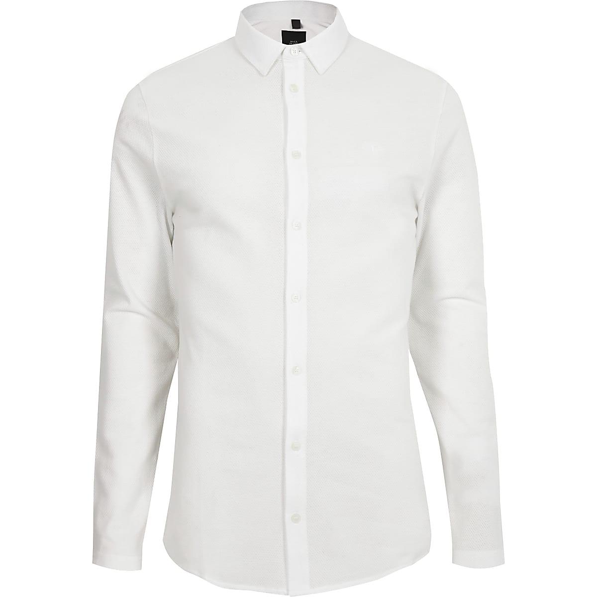 White button through textured shirt