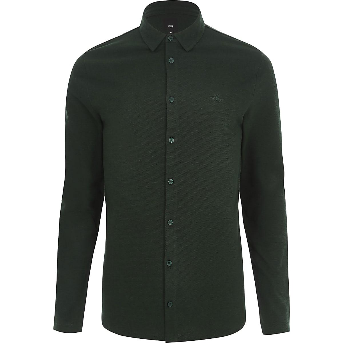c9e6347c Dark green muscle fit long sleeve shirt - Long Sleeve Shirts ...