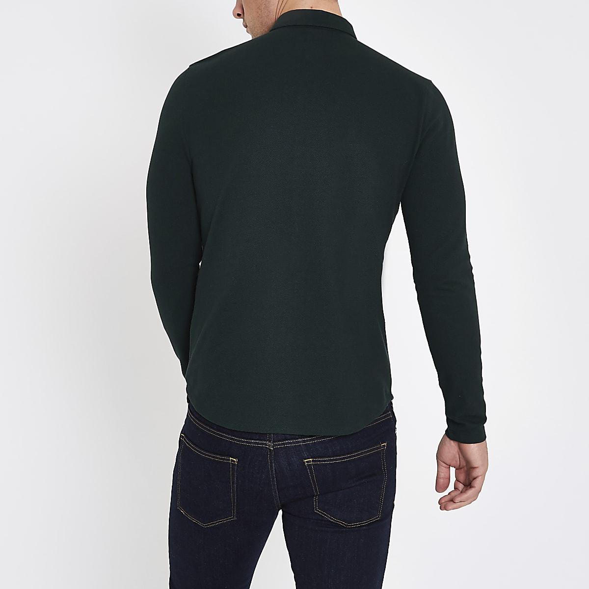 026a3aa6 Dark green muscle fit long sleeve shirt - Long Sleeve Shirts - Shirts - men