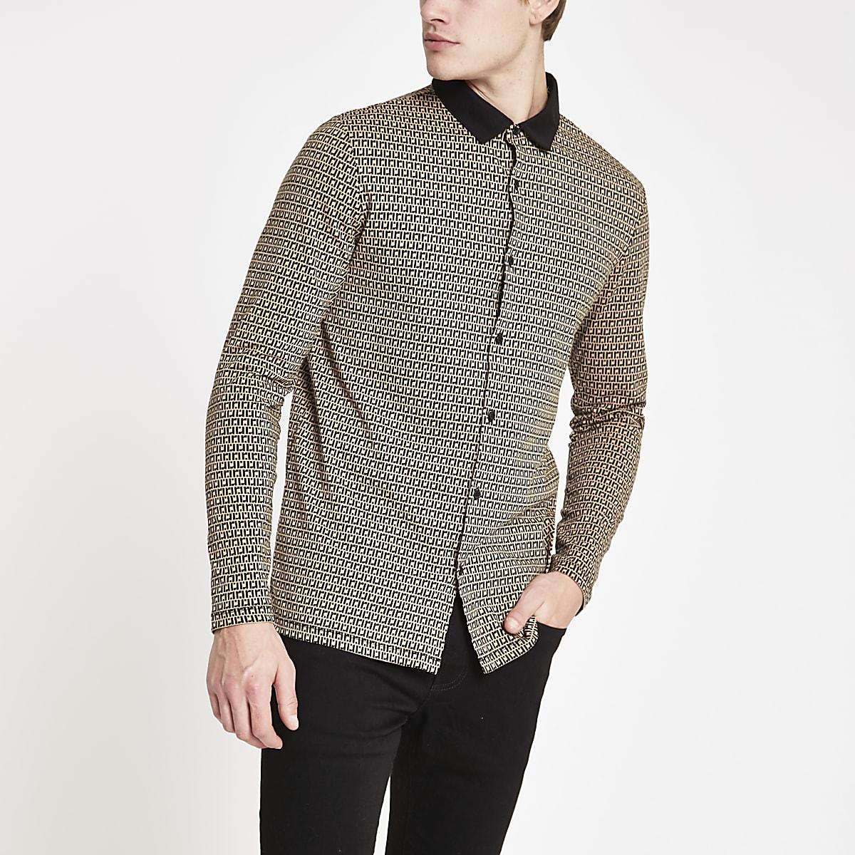 Light brown RI print slim fit shirt