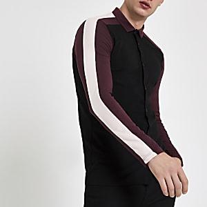 Black colour block muscle fit polo shirt