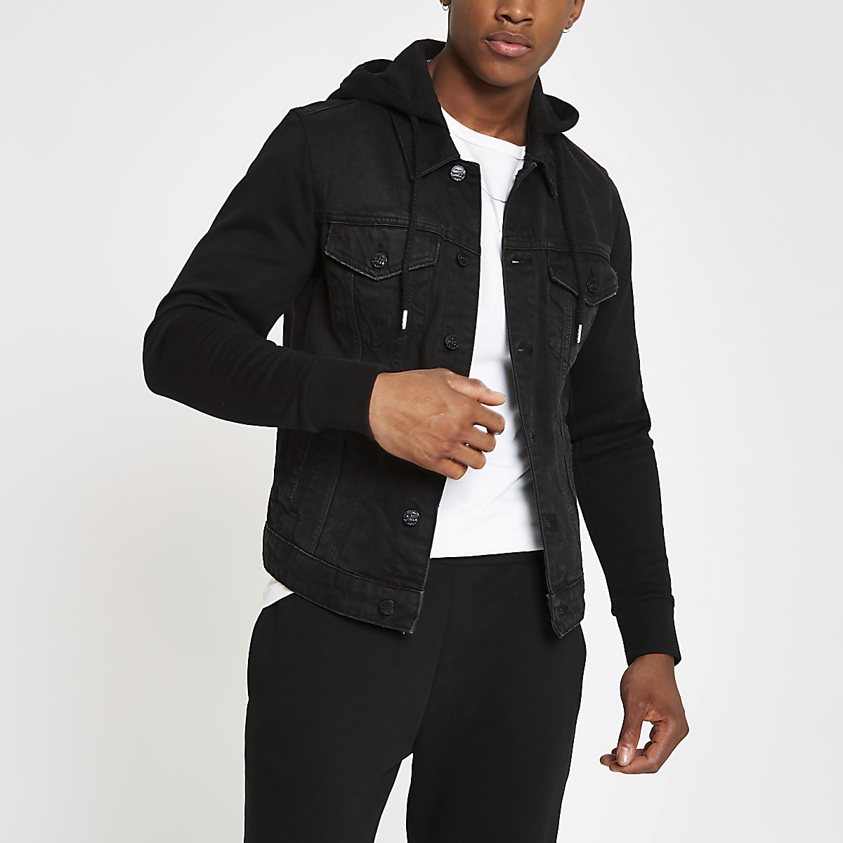 Only & Sons black contrast trucker jacket