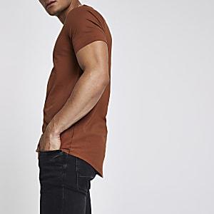 T-shirt marron clair à ourlet arrondi
