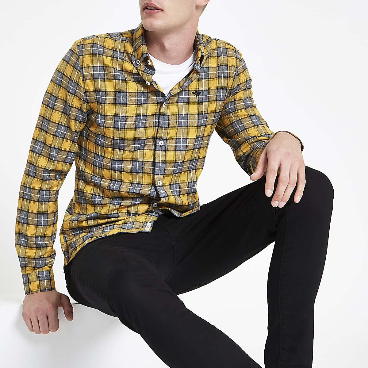 Yellow check wasp embroidered shirt