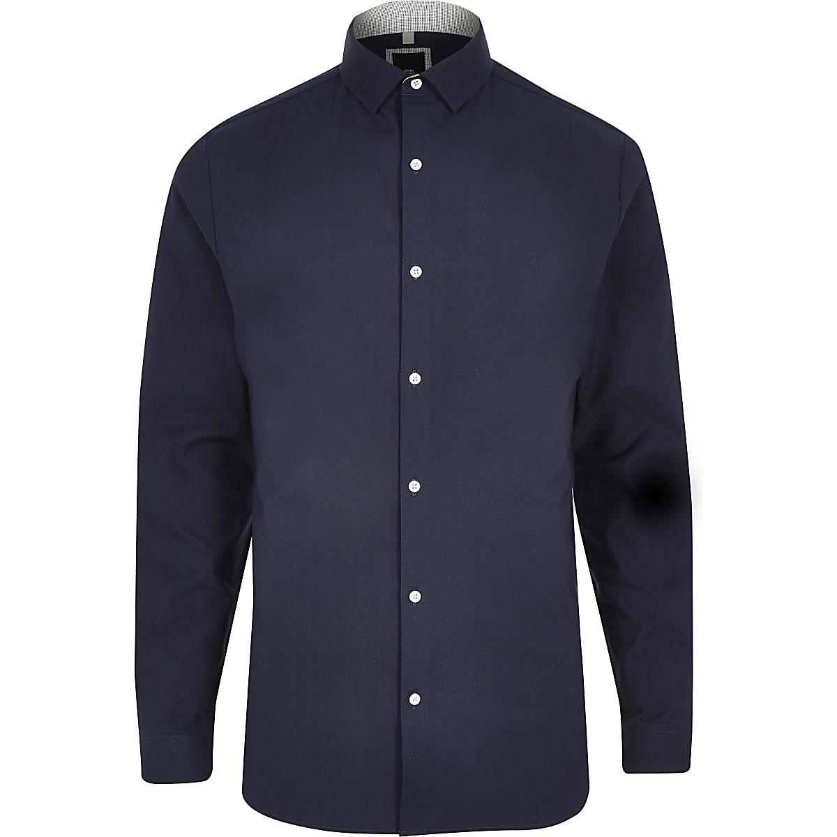 977c312e Navy smart texture stretch long sleeve shirt