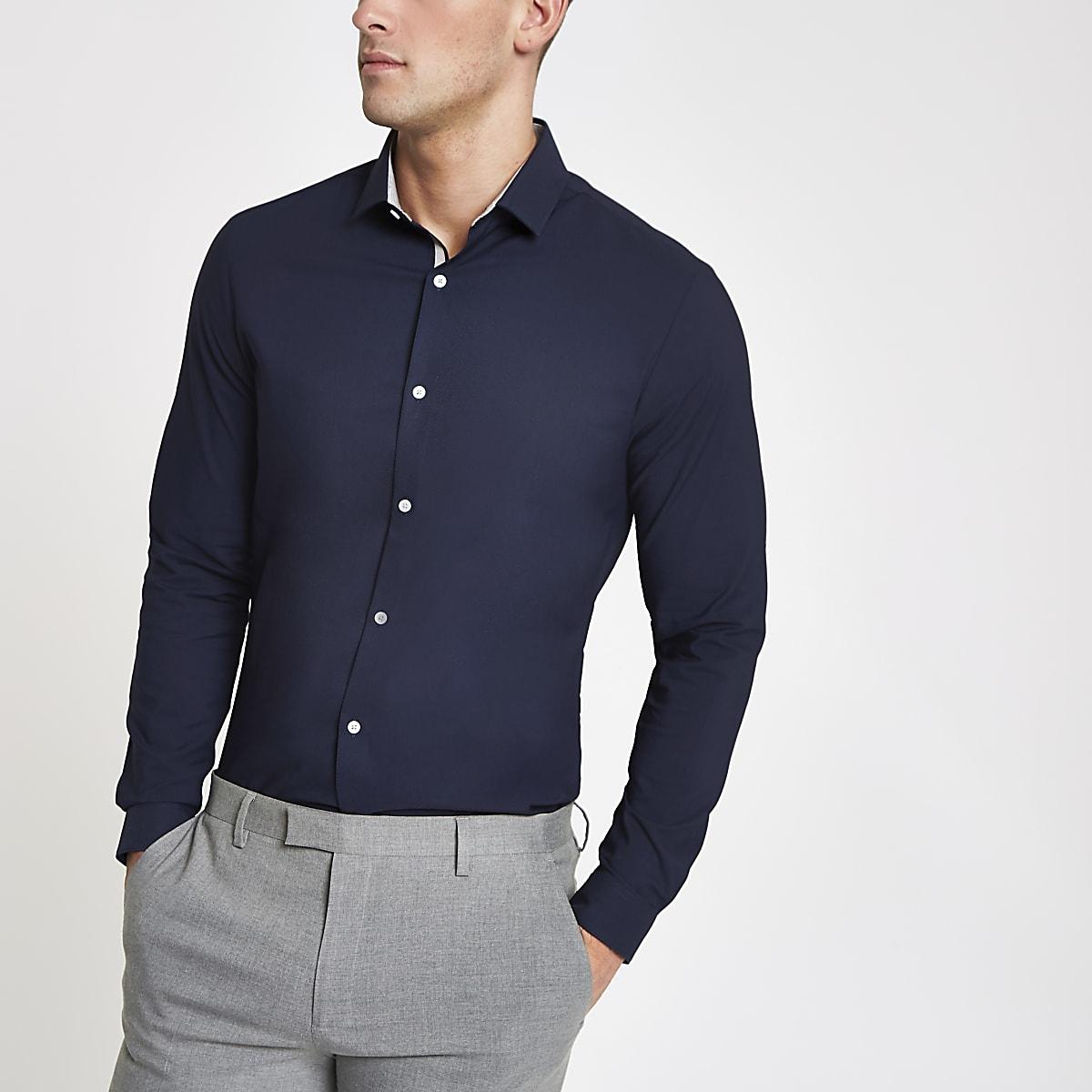 Navy smart texture stretch long sleeve shirt