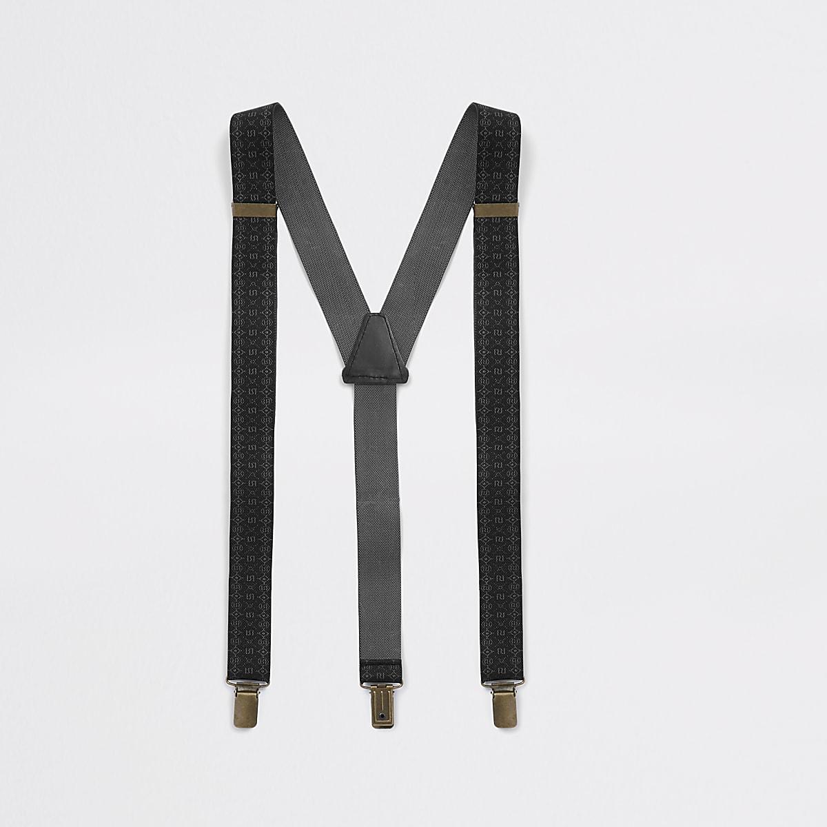 Bretelles noires à monogramme RI