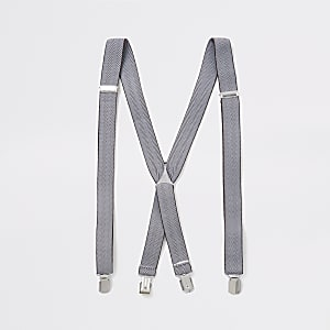 Bruine riem met print, bretels