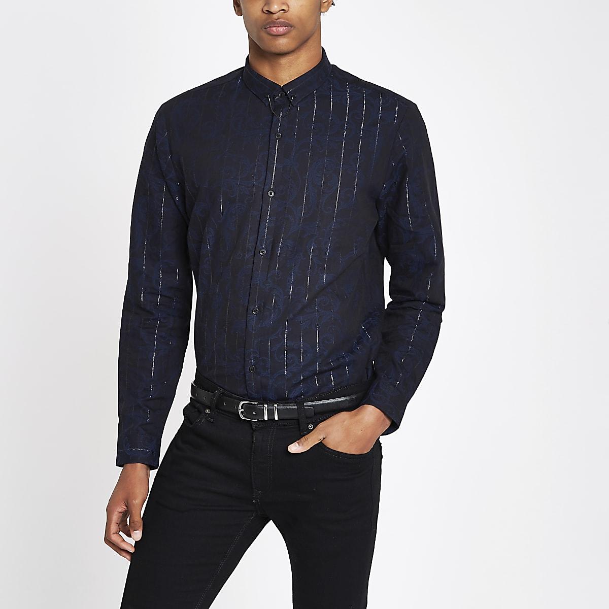 Navy metallic stripe long sleeve shirt