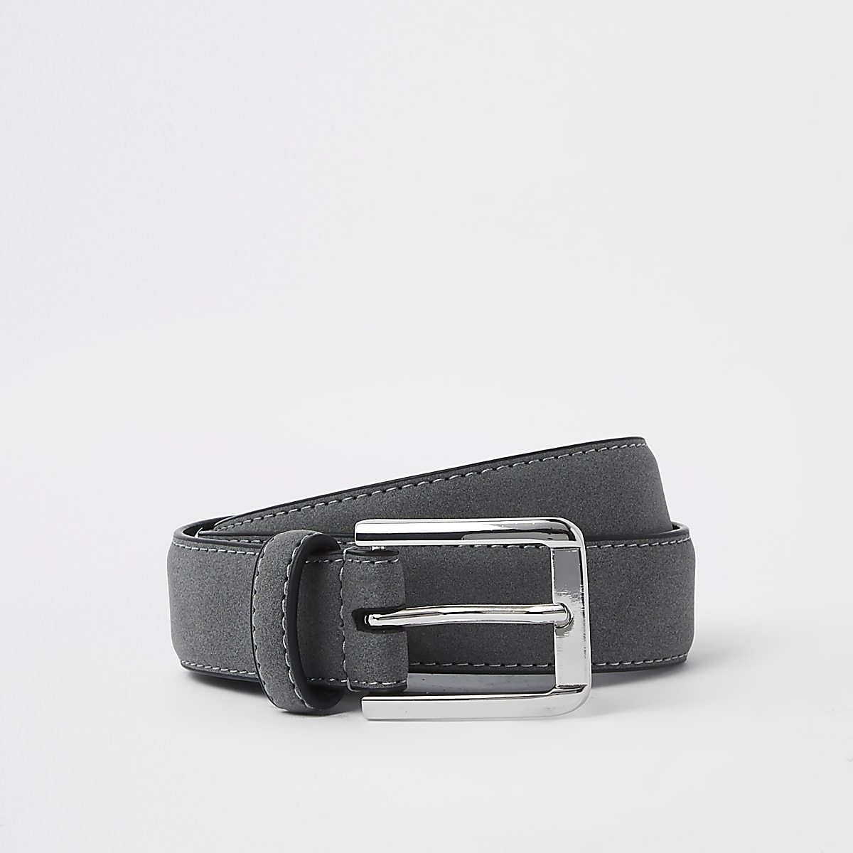 Grey suedette buckle belt