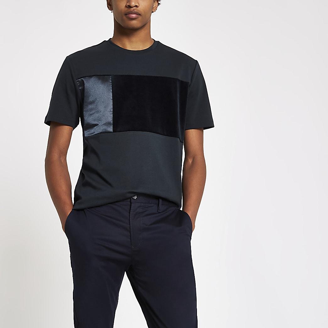 T-shirt slim en satin bleu marine à empiècement en velours