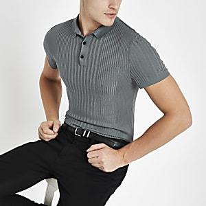 Grey ribbed slim fit polo shirt