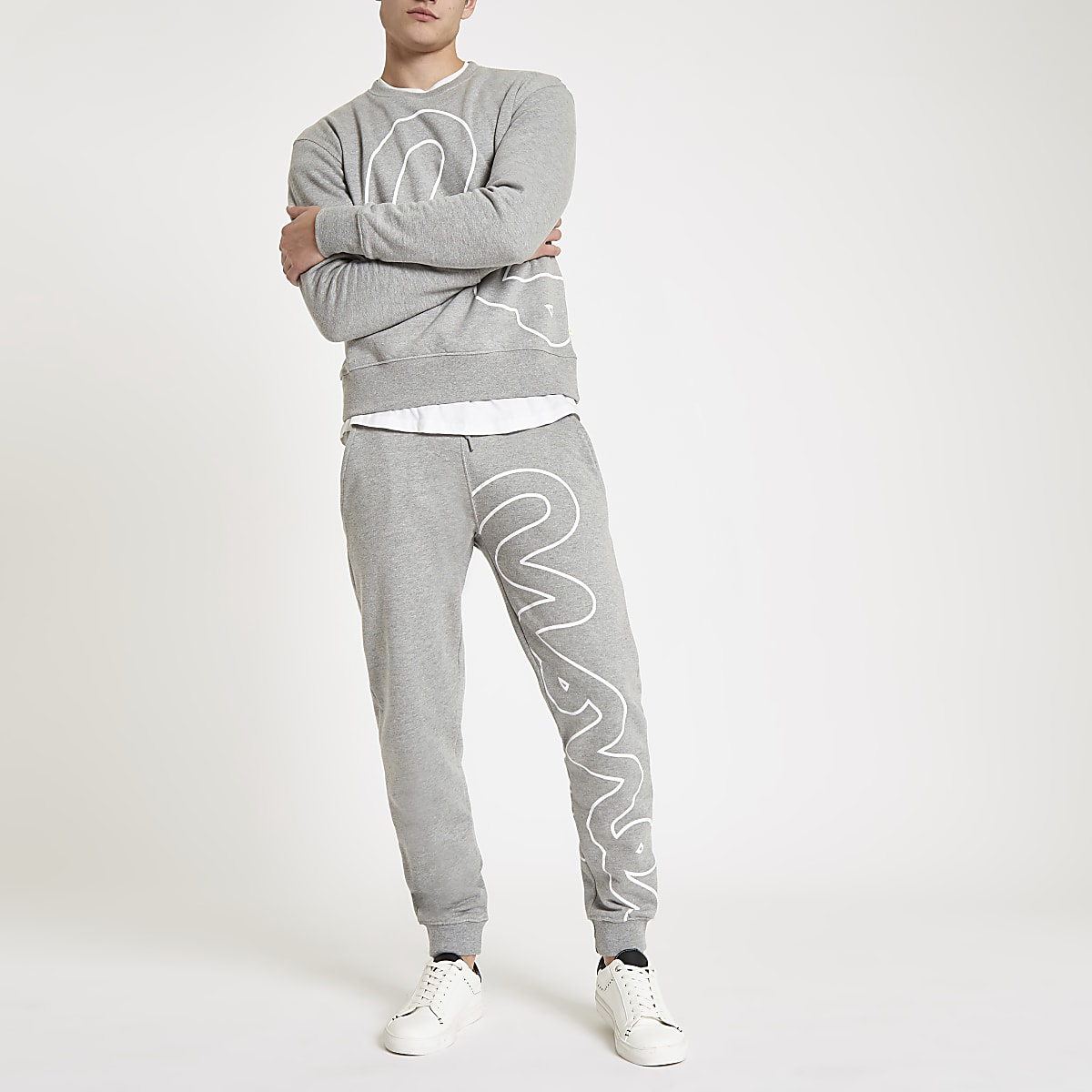 Money Clothing grey big outline joggers