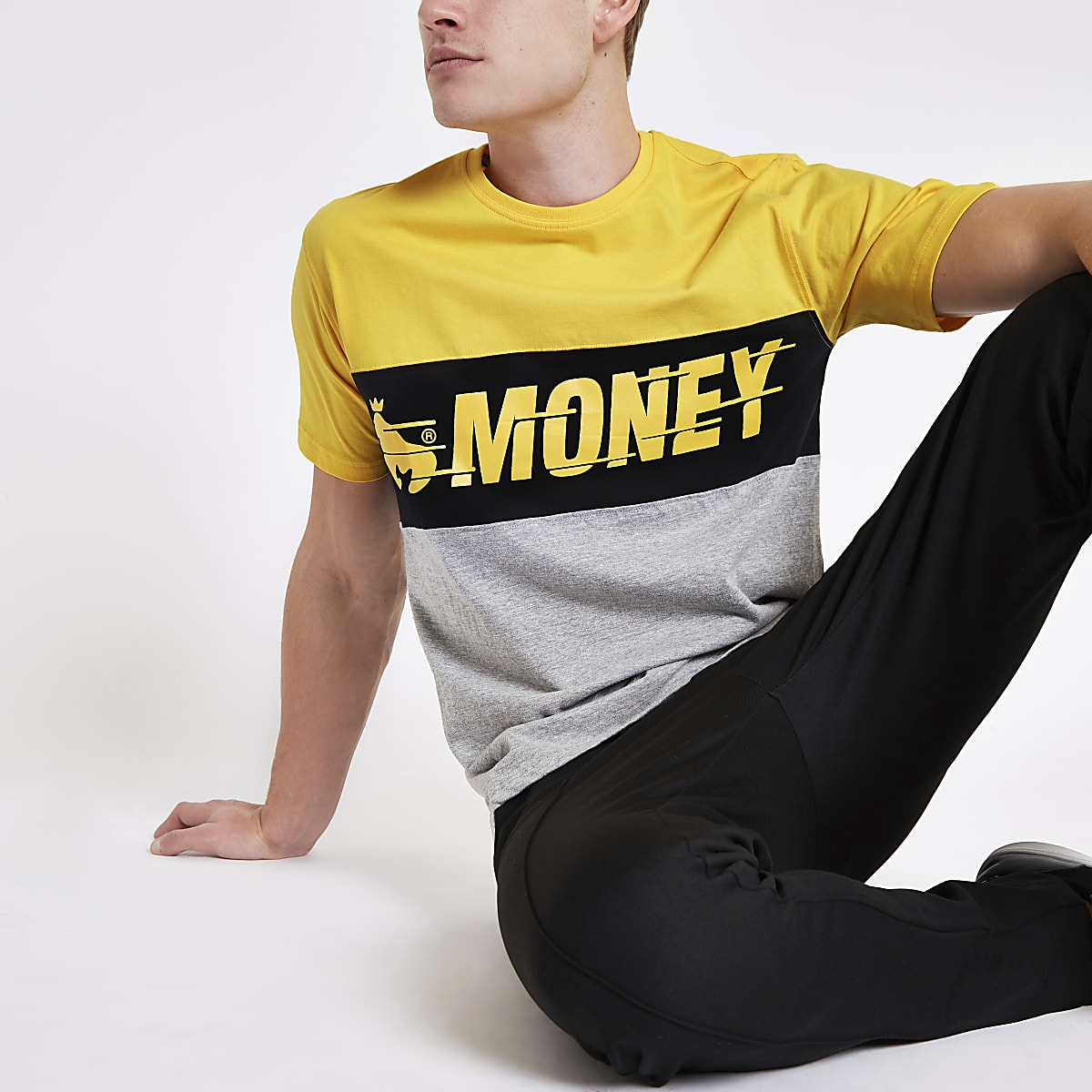 Money Clothing yellow color block T-shirt