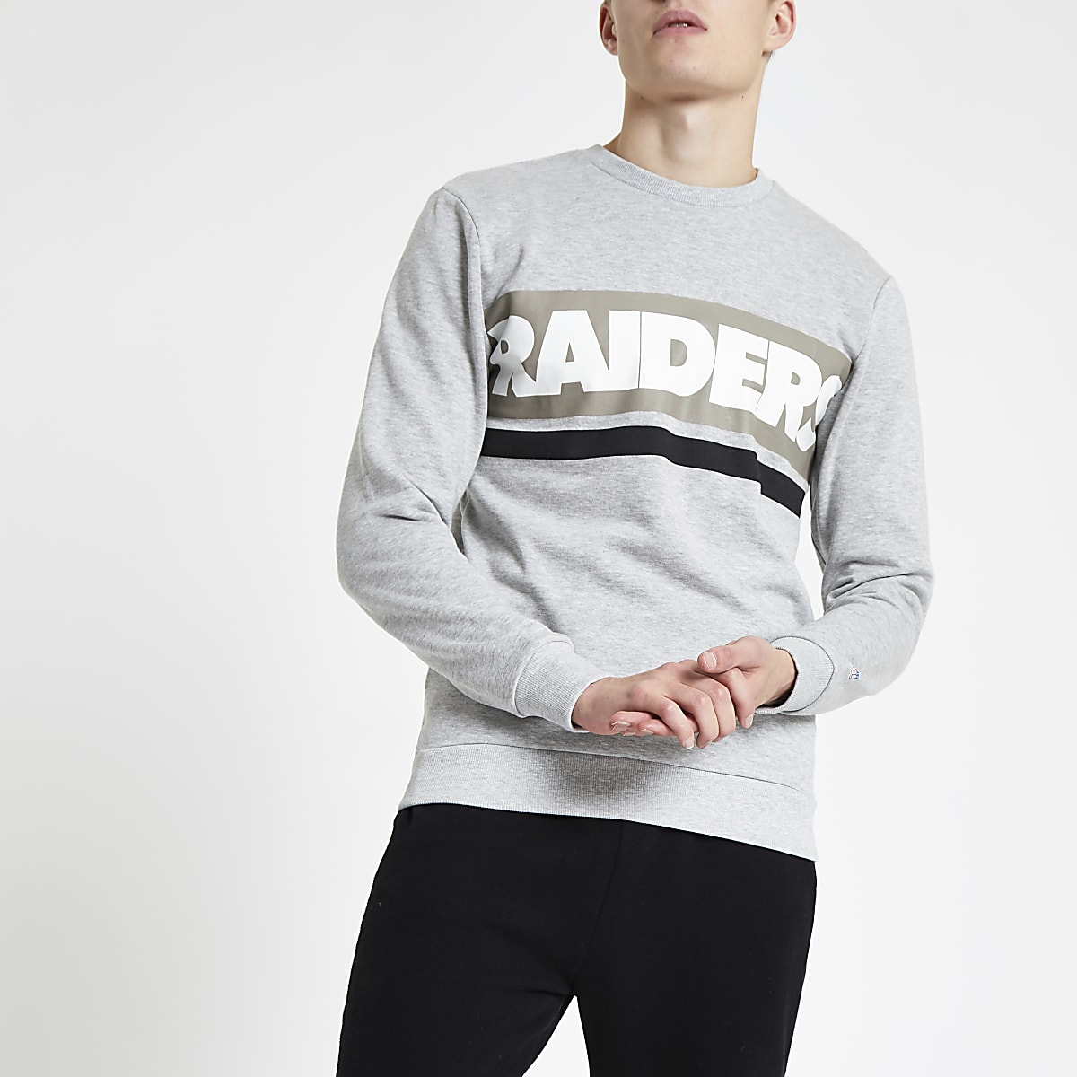 Only & Sons grey NFL 'Raiders' sweatshirt