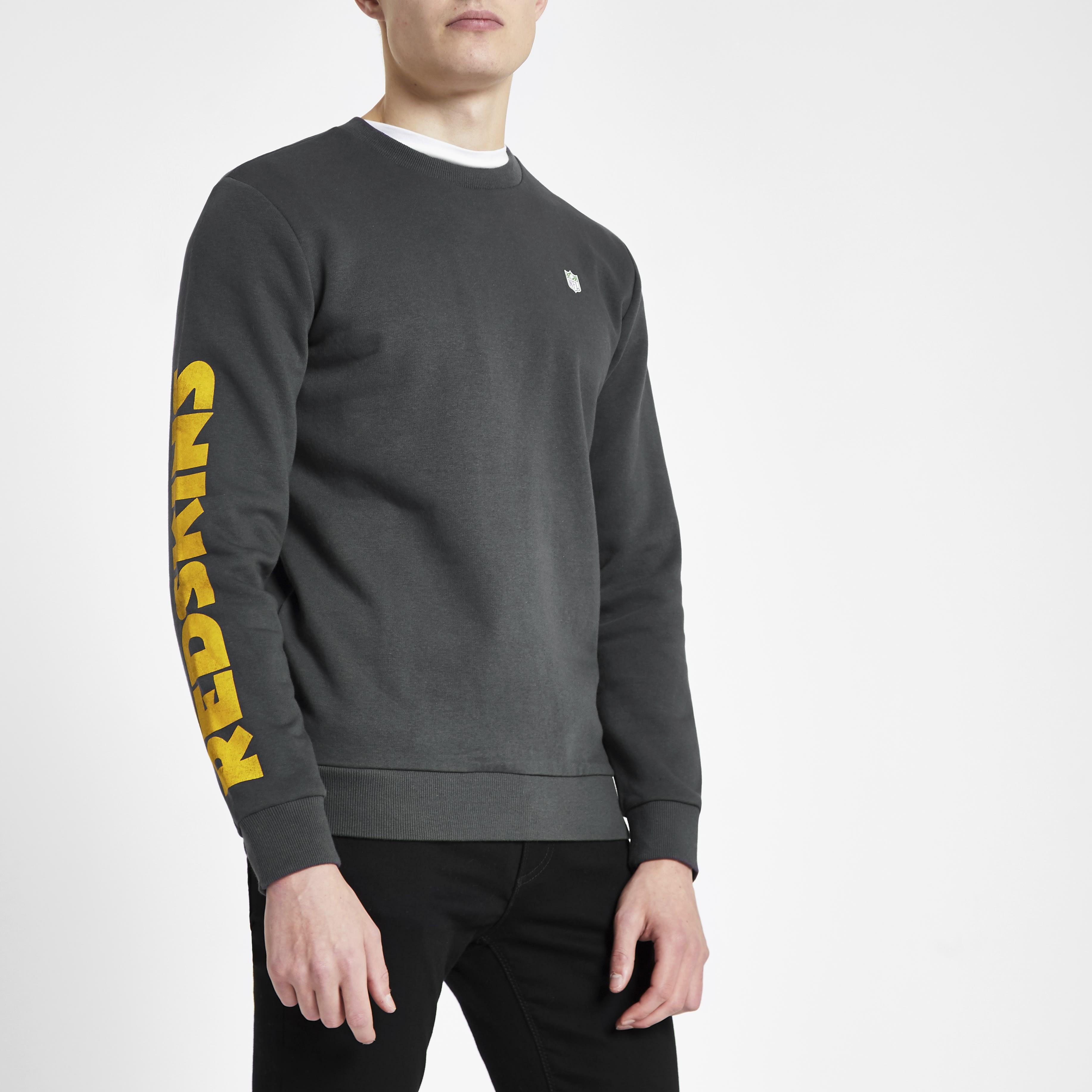 RIVER ISLAND   Mens Only & Sons Grey NFL 'Redskins' sweatshirt   Goxip