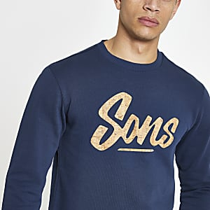 Only & Sons - Marineblauw sweatshirt met ronde zoom