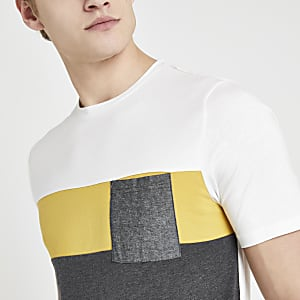 Only & Sons white block print T-shirt