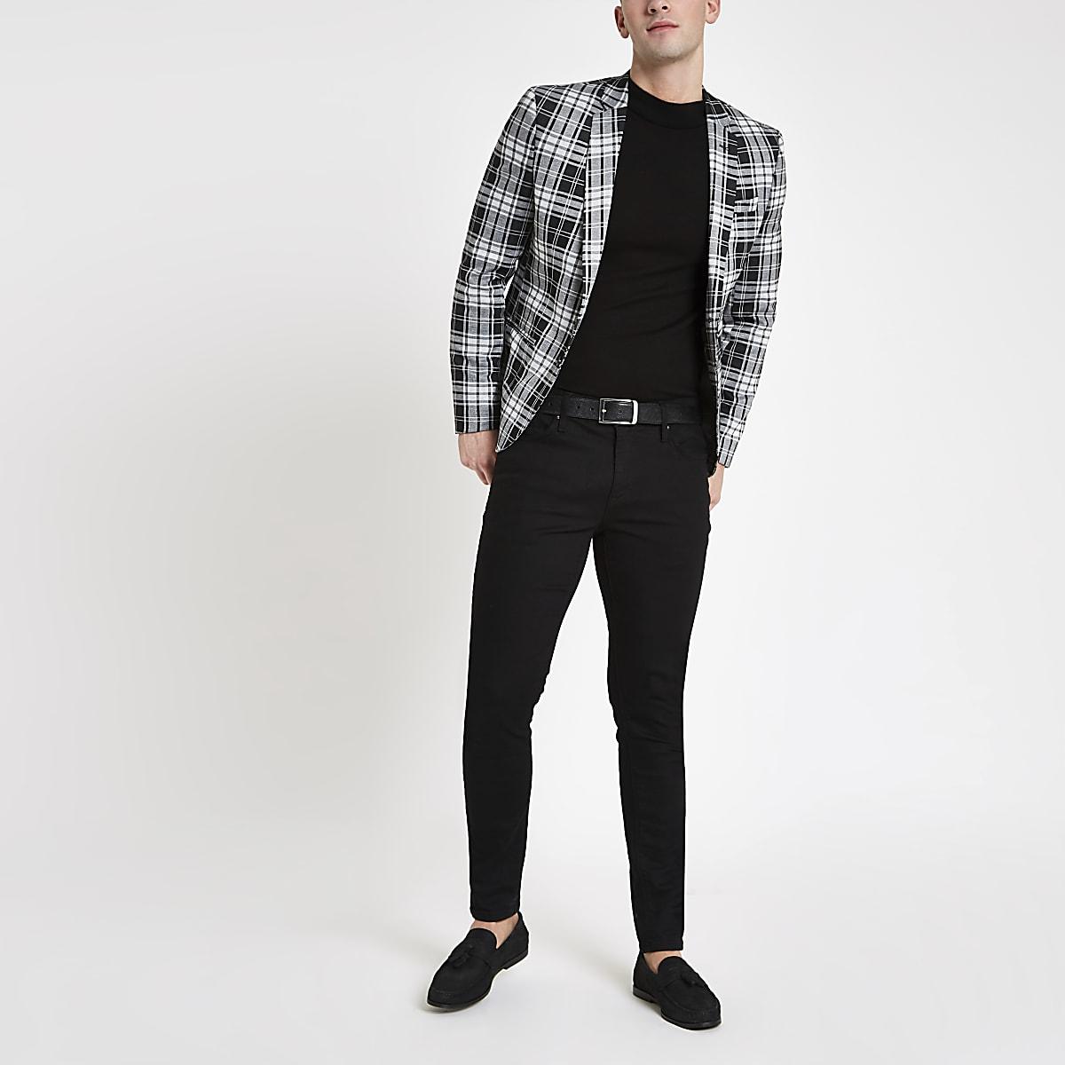 Blazer skinny à carreaux écossais noir