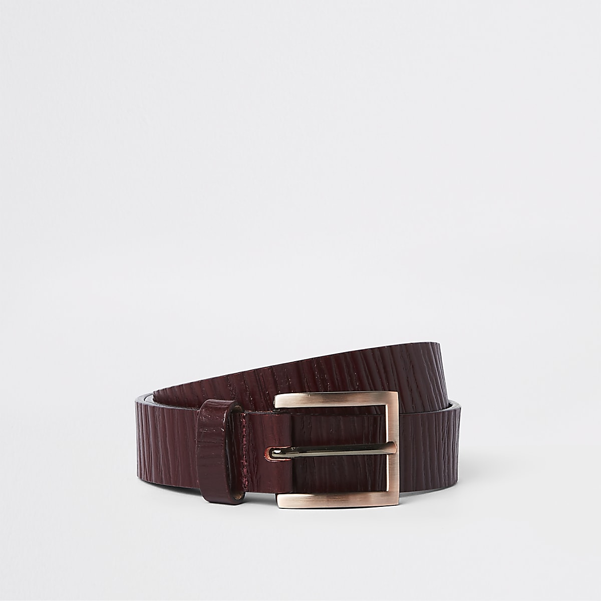 Dark red textured leather belt