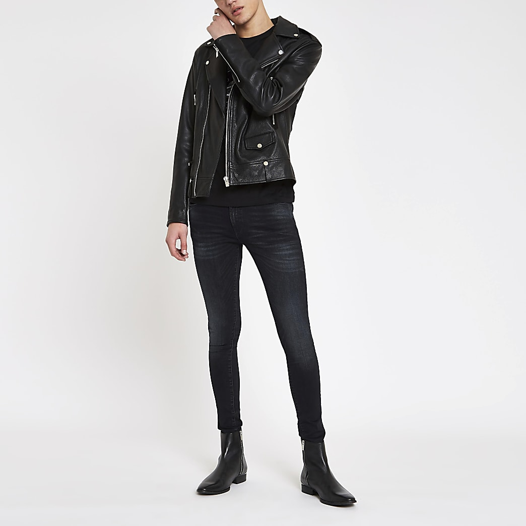 Ollie - Donkerblauwe skinny spray-on stretchjeans